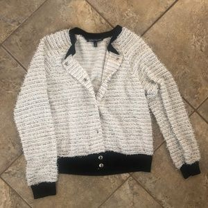 Black/White Fuzzy Track Jacket Sweater